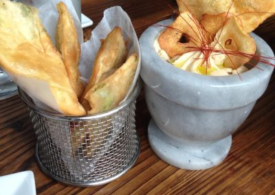 Vinted Wine Bar - Whipped Chickpea Hummus with scallion cakes